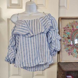 ZARA white and blue ruffle sleeves